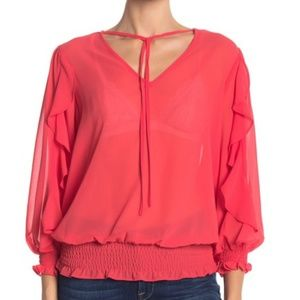 Nanette Lepore Red Sheer 3/4 Ruffle Sleeve Top, S